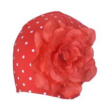 Baby girl Flower Hats kids Hats Knitting Wool winter autumn infants cute flower polka dot baby