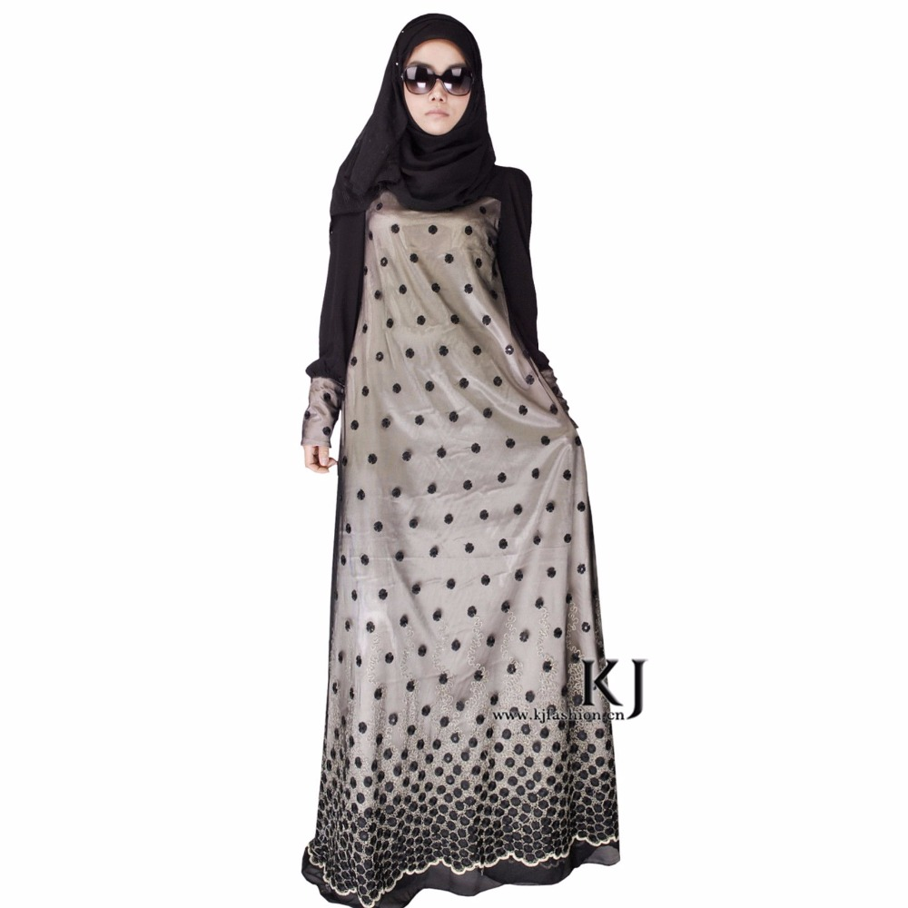 Kyle and Jane 2017 Black muslim lace dress abaya with full linning for islamic women