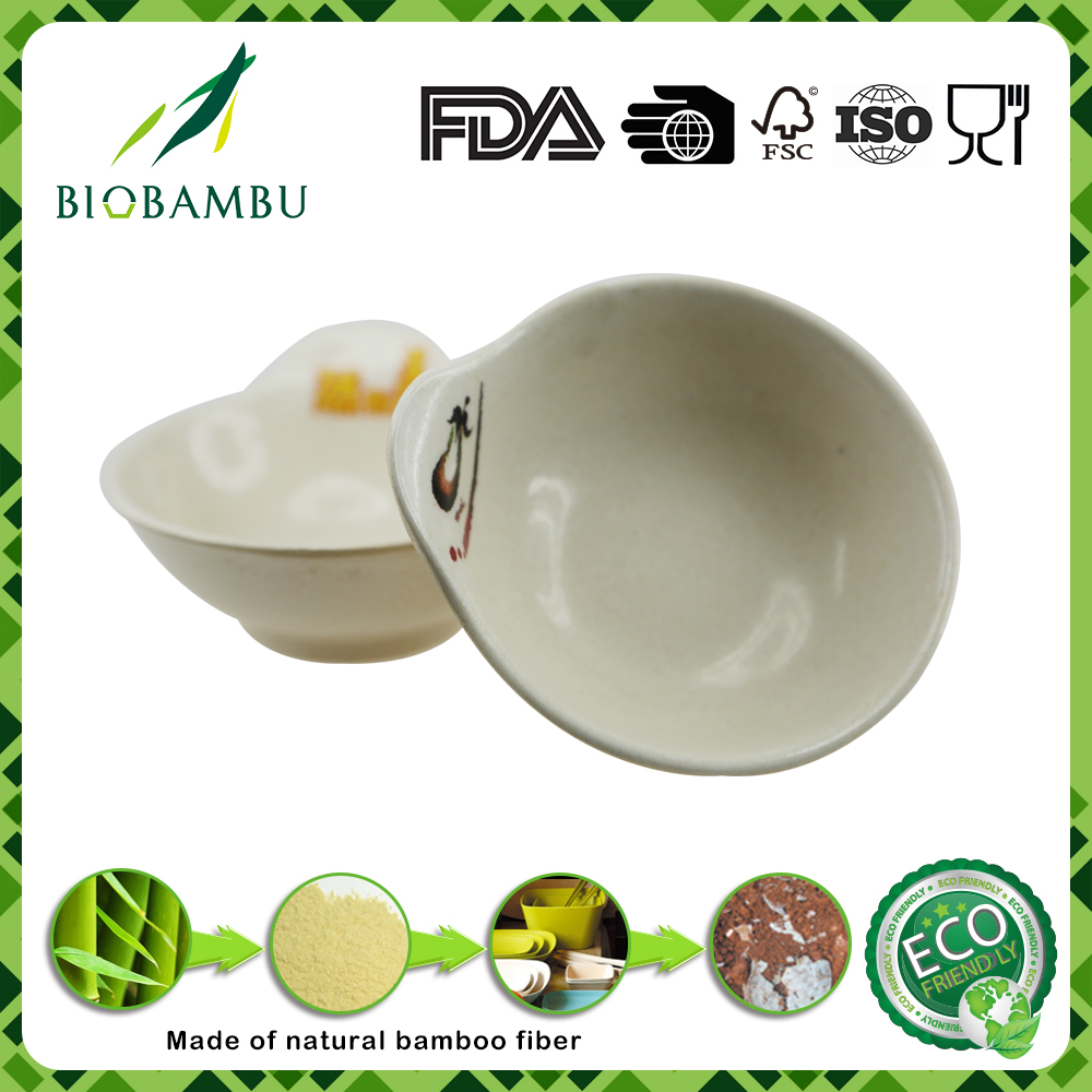 Nice best quality ecological bamboo fiber /bamboo fibre powder sauce bowl