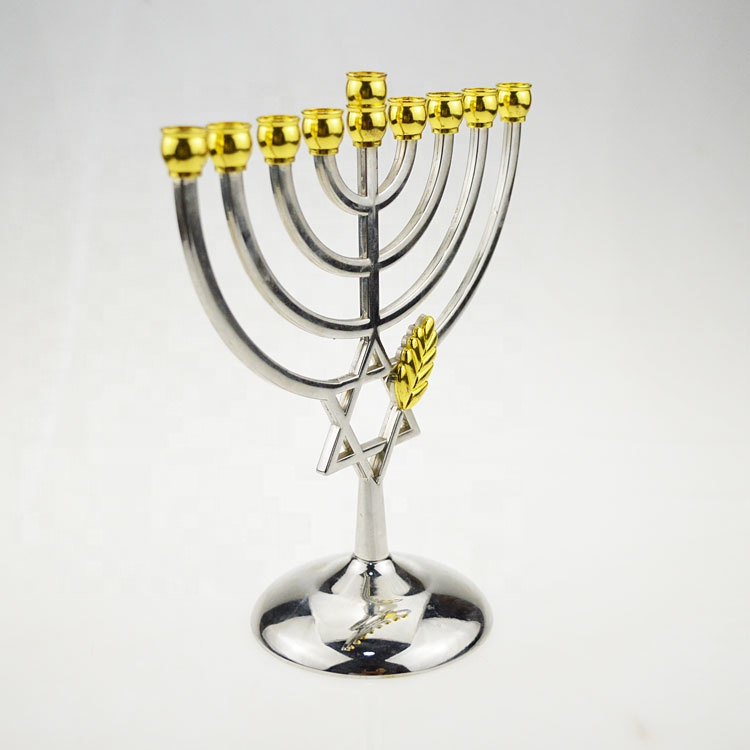 Hanukkah Menorah for Candle Gold Tin