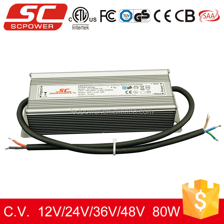 KV-24080-TD 24v 80W IP66 Triac dimmable constant voltage led power supply