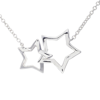 OEM/ODM Fashion 925 Sterling Silver Double Star Necklace
