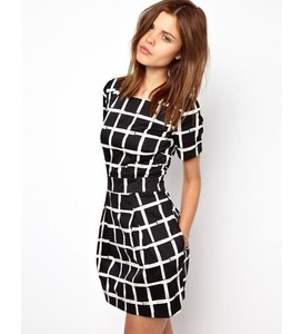 Ywhola Fast Delivery Black Summer Splicing Lattice Stripes Women Clothing