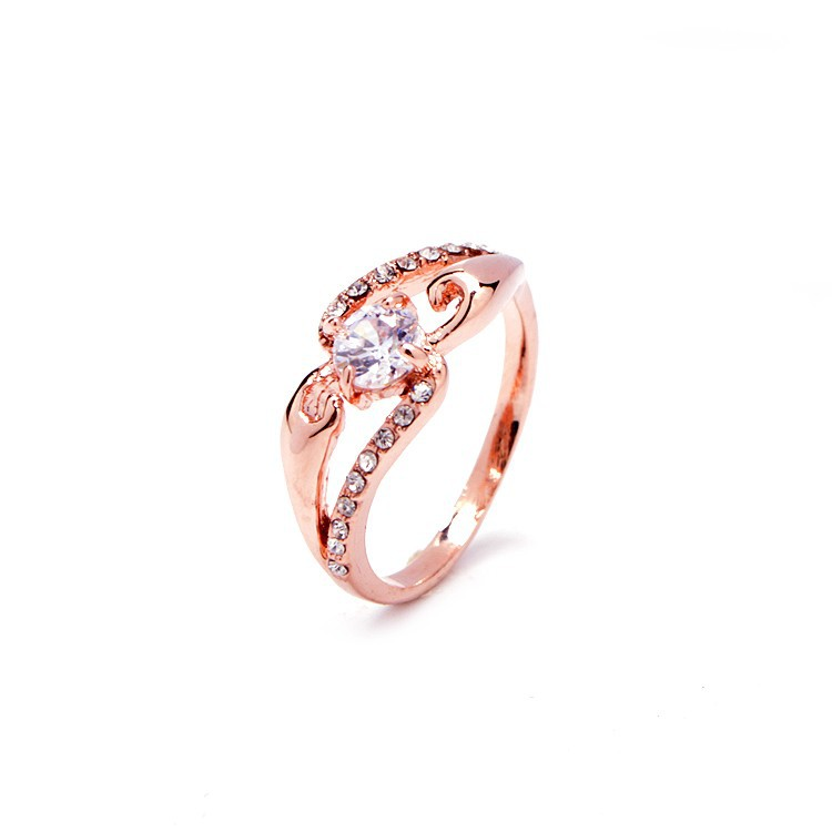 Korean Elegant Women Exquisite AAA Zircon Wedding Ring Rose Gold And Platinum Plated Engagement Rings
