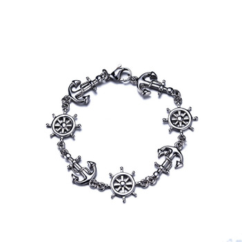 Pirate jewelry men's titanium steel rudder anchor bracelet