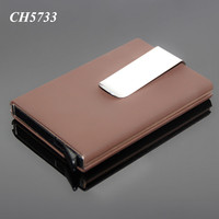 Automatic RFID Credit Card Case Organizer With Money Clip Leather Aluminum RFID Protected Aluminum Business Card Holder