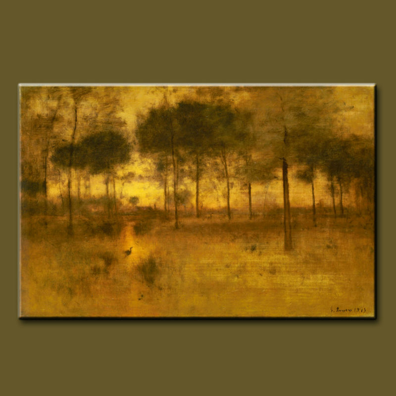 High quality pure hand-painted Forest heron painting Animal oil painting landscape painting