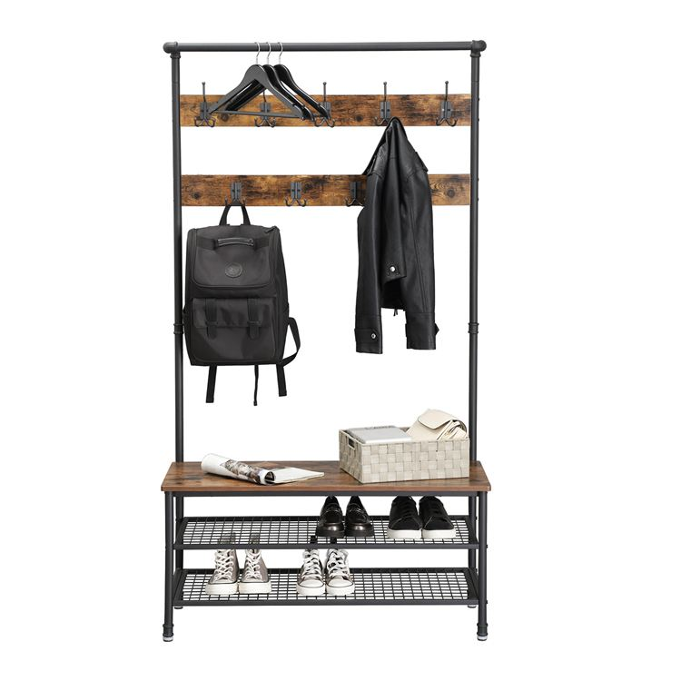 VASAGLE Industrial Rack Shoe Bench New Pipe Style Large Hat and Coat Stand w..