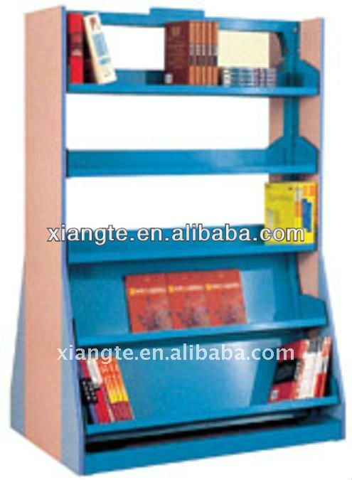 heavy duty two-purpose wooden steel book cabinet/ metal and wood bookshelf/commercial furniture