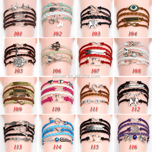 Wholesale ali baba shopping online leather bracelet for women bulk charm bracelets
