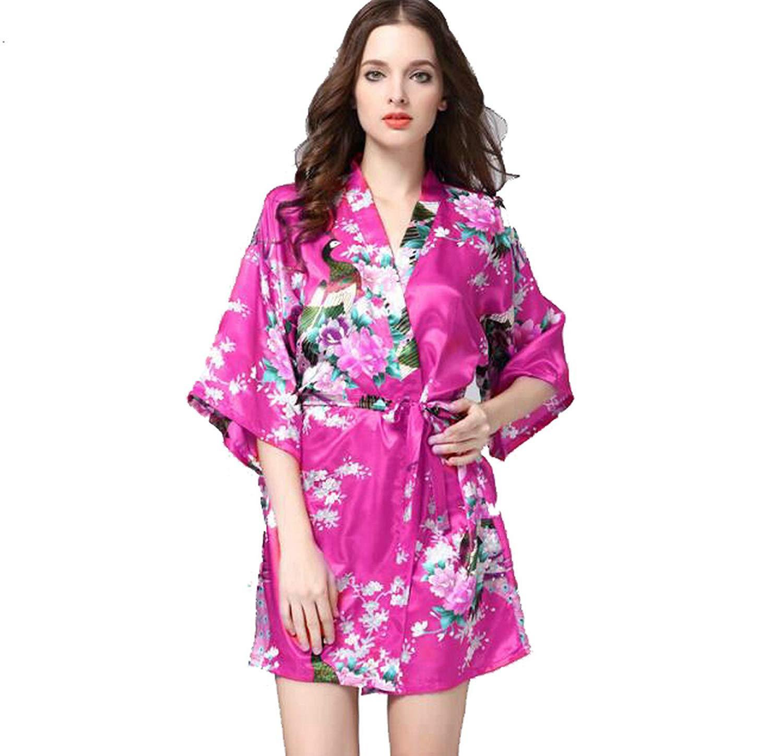 920424d18 Get Quotations · Zarachilable Satin Peacock Floral Robe Silk Robe Bride  Bridesmaid Bathrobe