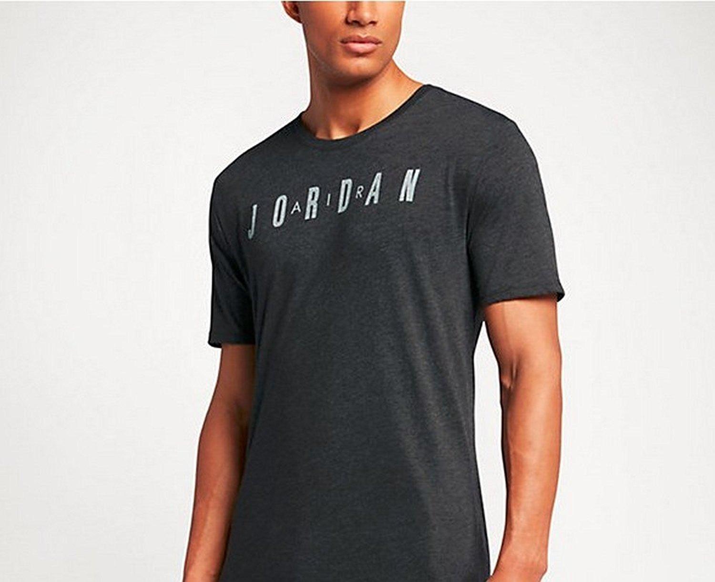 Nike Mens THE ICONIC AIR JORDAN TEE, BLACK HEATHER/WHITE, XL