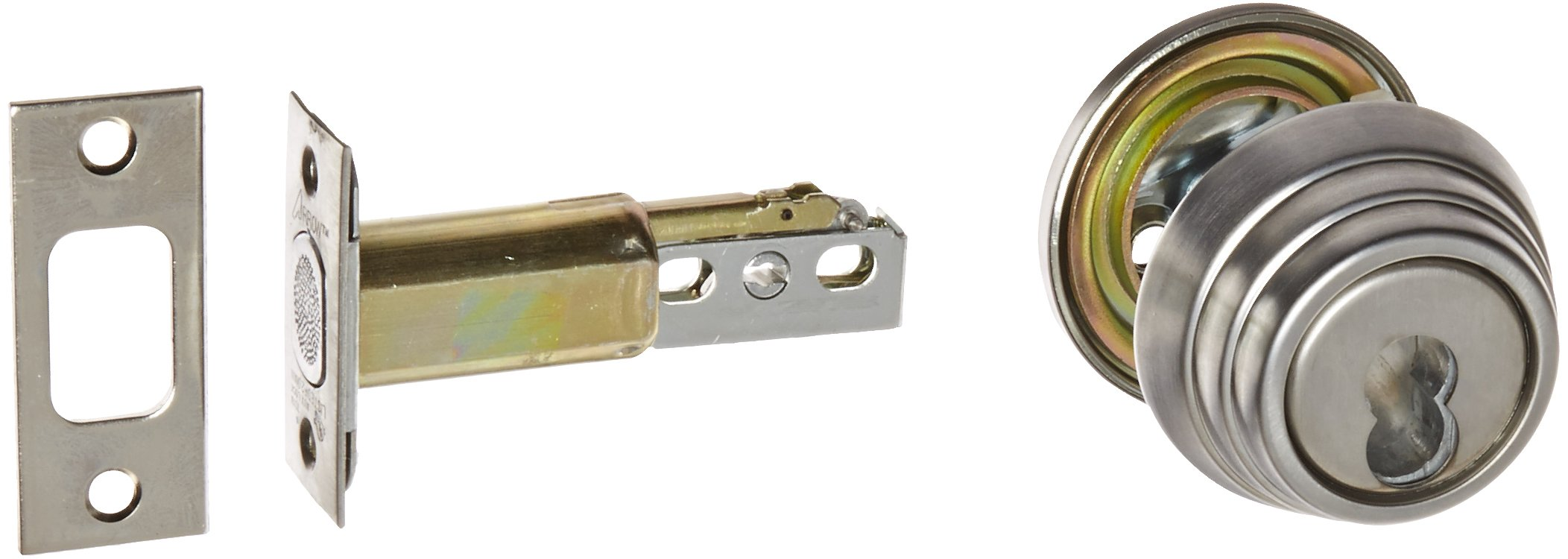 1-3//8 to 1-3//4 Door Thickness Arrow Lock E Series Satin Chromium Occupancy Indicator Deadbolt Auxiliary Lock with Interchangeable Core Pack of 1