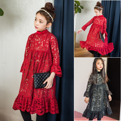 Shopping Lace Floral Red Rose Lace Princess Party Wear Design Dress