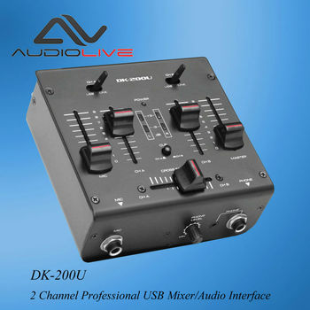 Manufacturer Supply DM-200U professional 2 Channel USB sound card inside Mixer