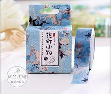 10 Meters Flying Crane Blue Flower Washi Tape Adhesive Tape DIY Scrapbooking Sticker Label Masking Tape