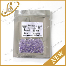 Wholesale price AAA 1.5mm lavender round brilliant cut synthetic cz gemstone