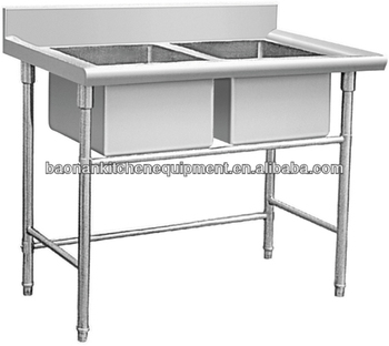 Commercial Stainless Steel Kitchen Sink Table (double Sink) Bn-s26 - Buy  Stainless Steel Kitchen Sink,Kitchen Table,Kitchen Sink Table Product on ...