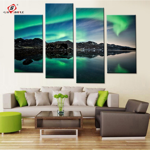 Northern Light Landscape Canvas Paintings Modular Pictures for Bedroom Green Light Scenery Modern Painting Art Drop Shipping