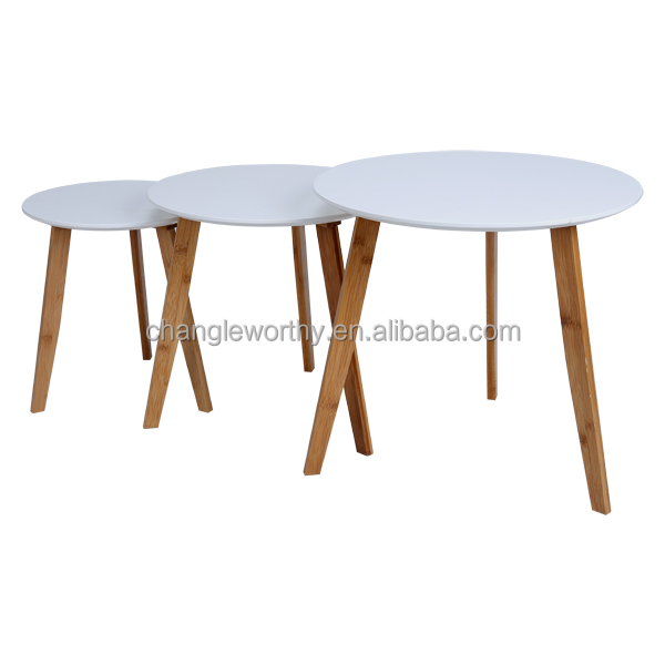Yasen Houseware Small Round Tea Table,Home Furniture Round Pedestal Modern  Round Nesting Coffee Tables