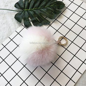2018 new style fox fur ball tail car key rings real fox keychain animal fur keychain