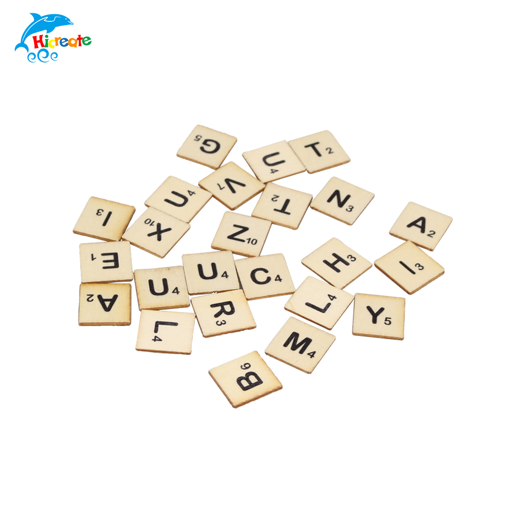 custom 100 pcs/polybag wood game tiles wood scrabble tiles alphabetic letters for crafts