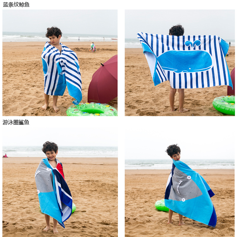 Wholesale Colorful and soft pure cotton digital printing kids cartoon sand free beach towel poncho