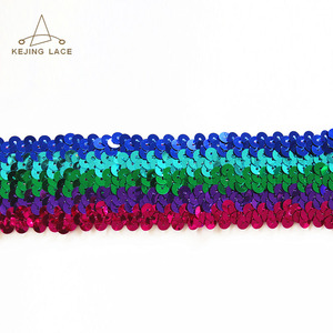 Colorful Elastic Sequin Trim Shining Lace Trimmings