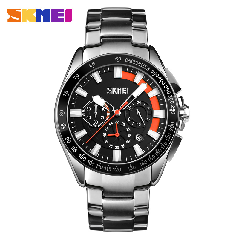 Japanese movt skmei 6 hand men wrist watch stainless steel chronograph date water resistant фото