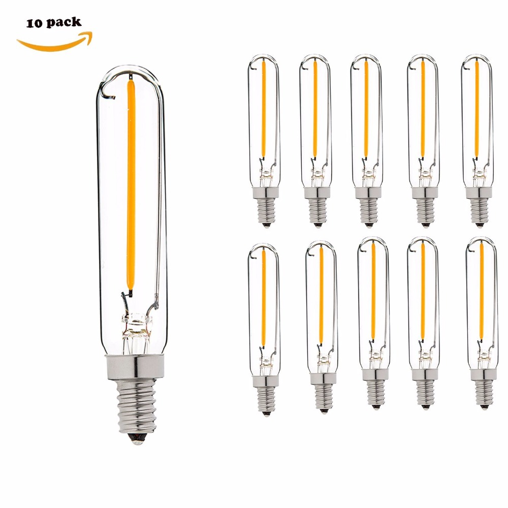 T6 1W LED Edison Filament Bulb - 10 Watt Equivalent Candelabra LED Light - Radio Style - E12 Base - Super Warm White 2200K - Dim