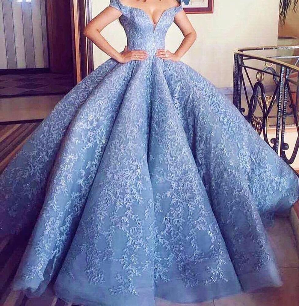 2018 Blue Cinderella Ball Gown Wedding Dress Blue Wedding Dress ...