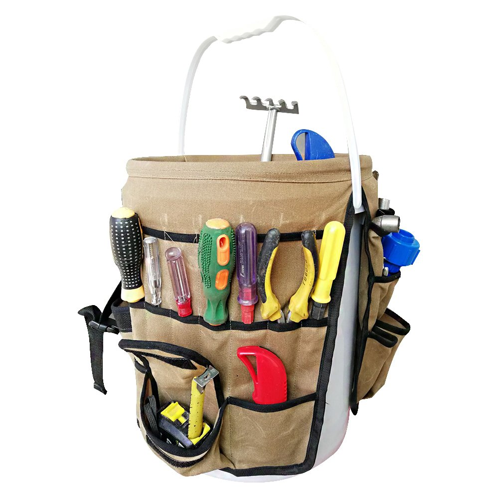 Get Quotations · Garden Bucket Organizer, Durable Waxed Canvas Buckets Tool  Bag Holds All Little Tools For Gardening