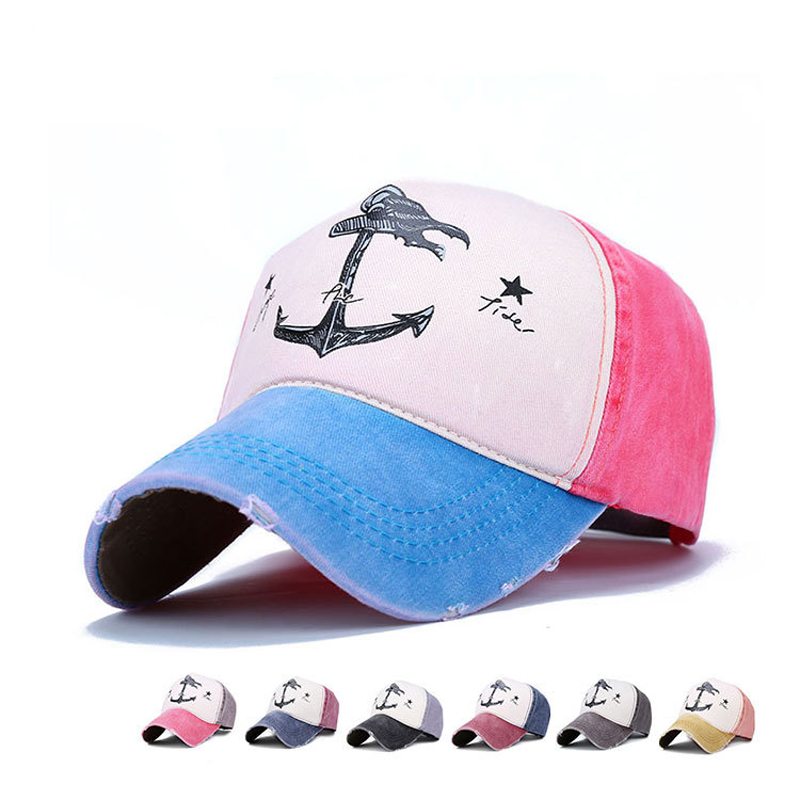 New stylish printed anchor korean hat wholesale cotton dad cap sun visor baseball hat