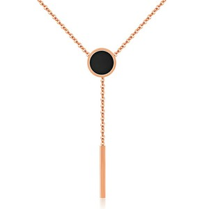 Marlary Fashion Necklaces Rose Gold Tone Black Circle Tassels Charm Pendant Choker For Womens