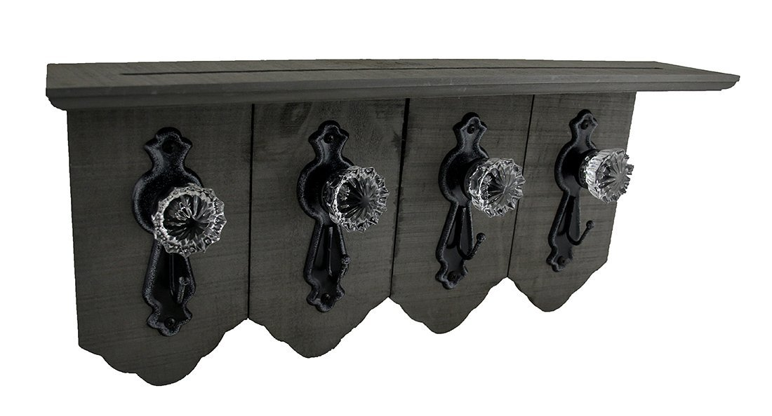 4 Antique Style Doorknobs With Key Hooks On Distressed Wood Wall Shelf Wood & Metal Decorative Wall Hooks Gray