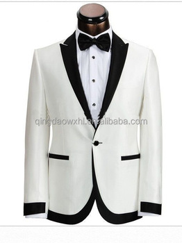 Men S Business Wedding Suit Fashion Groom Tuxedos Single Button Custom Men White Suit With Black Lapel And Trims Buy Slim Fit Stylish Two