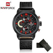 NAVIFORCE мужские часы, люксовый бренд, 3ATM водонепроницаемые часы, мужские Аналоговые кварцевые часы с датой 24 часа, мужские спортивные кожаные ...(China)