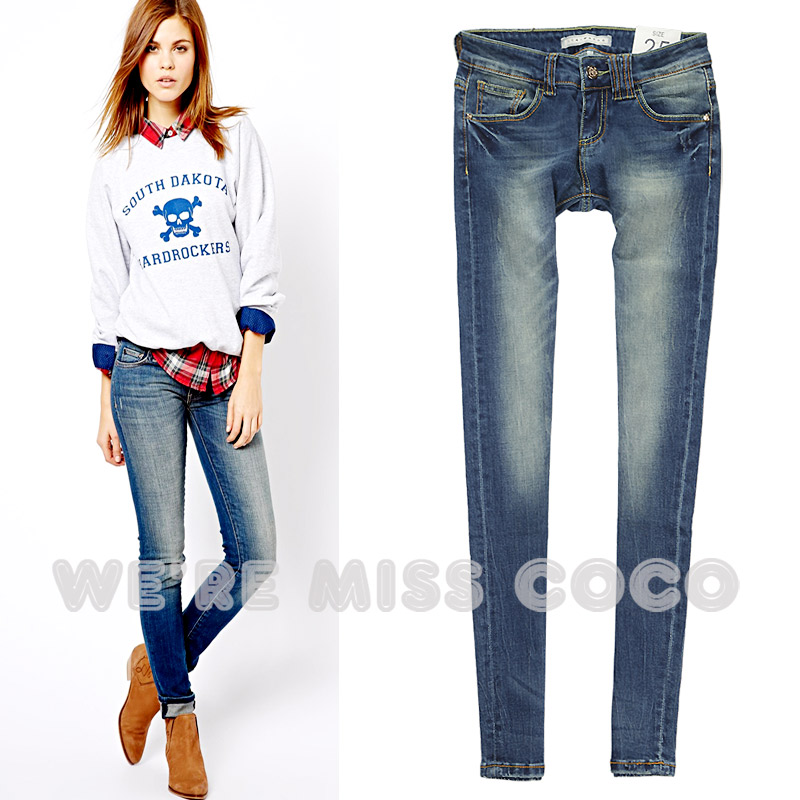 32fd854c507 Get Quotations · 2014 female retro finishing wearing white sexy slim pencil  jeans Women and girls jeans fashion brand