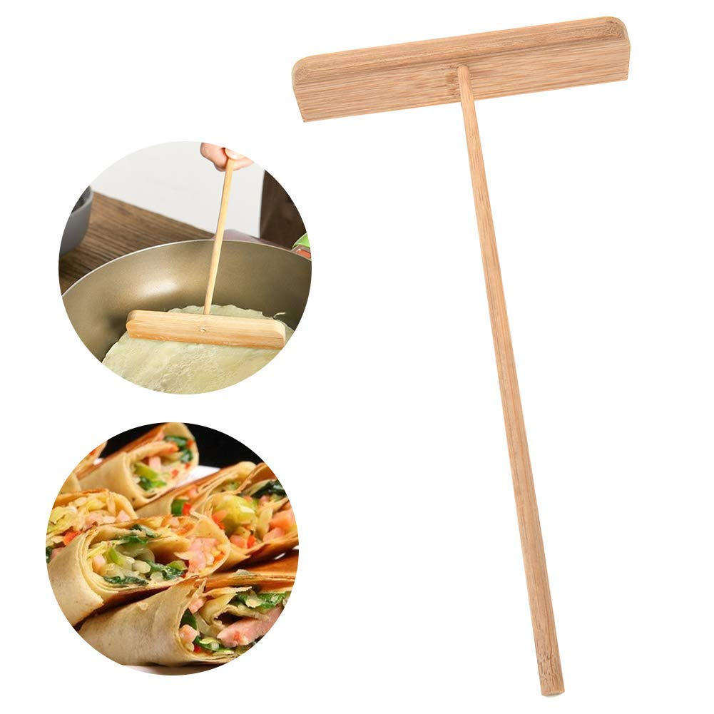 2 Pcs Wood Batter Pancake Crepe Spreader, Long Handle Omelette Pancake T-shape Dough Distributor