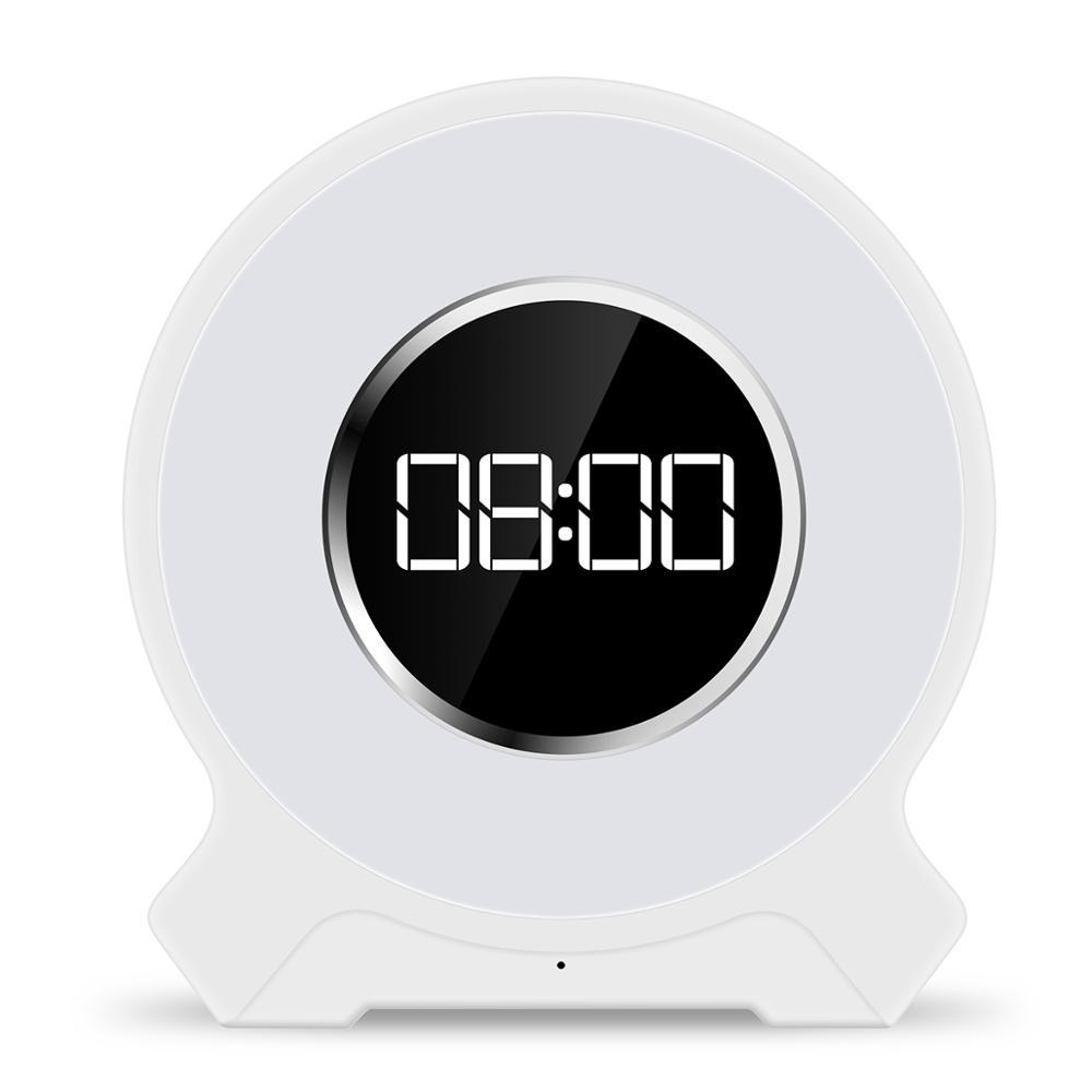 Dokunmatik sensör Sunrise uyandırma işığı dijital gece ışıklı çalar saat bluetooth hoparlör ile