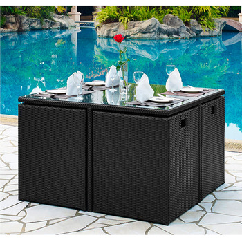 Set Da Pranzo In Rattan.4 Seater Kd Outdoor Wicker Cube Dining Set Rattan Cube Garden