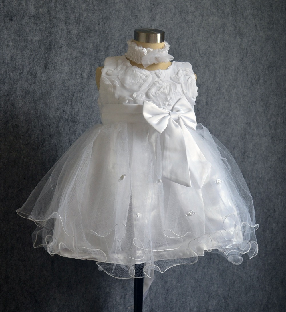 sleeveless solid white christening baby girl dress with