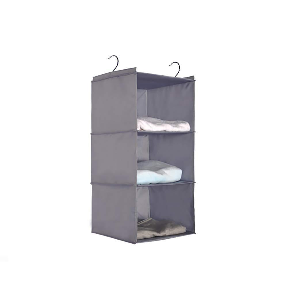 Creaon Storage Hanging Bag Durable Waterproof Wall Door Foldable Multifunctional Large Capacity Three Floors Storage Bag for Bedroom and Bathroom(Grey)
