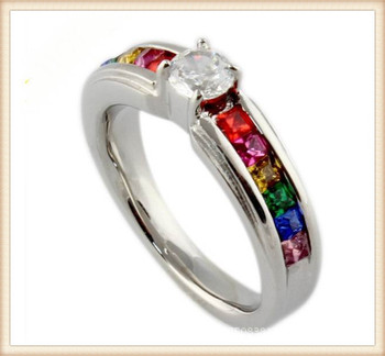rainbow czgay coupleweddingstainless steel band gemstone rainbow engagement ring - Rainbow Wedding Rings