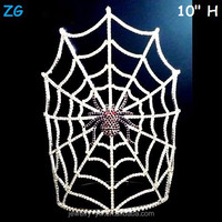 Wholesale Large Crystal Scary Halloween Spider Crown With Spider Web Mask