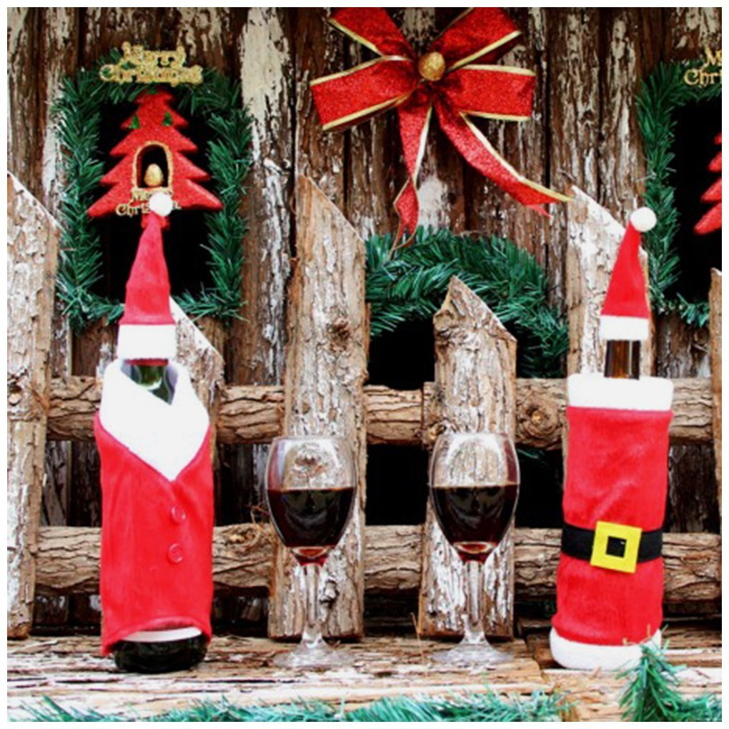Wine Bottle Cover, 2 Pack Christmas Santa Wine Decoration, Christmas Red Wine Bottle Sets Cover with Christmas Hat and Clothes for Christmas Dinner Decoration Home Halloween Gift by CloudWave (red)