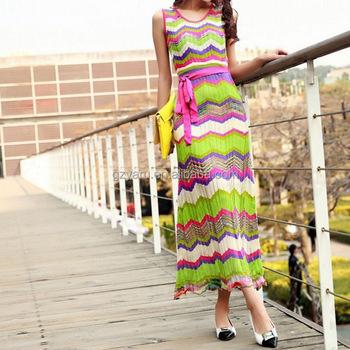 4318fbb443e72 Sleeveless Chiffon Maxi Zig Zag Dress Women Beach Dress With Belt ...