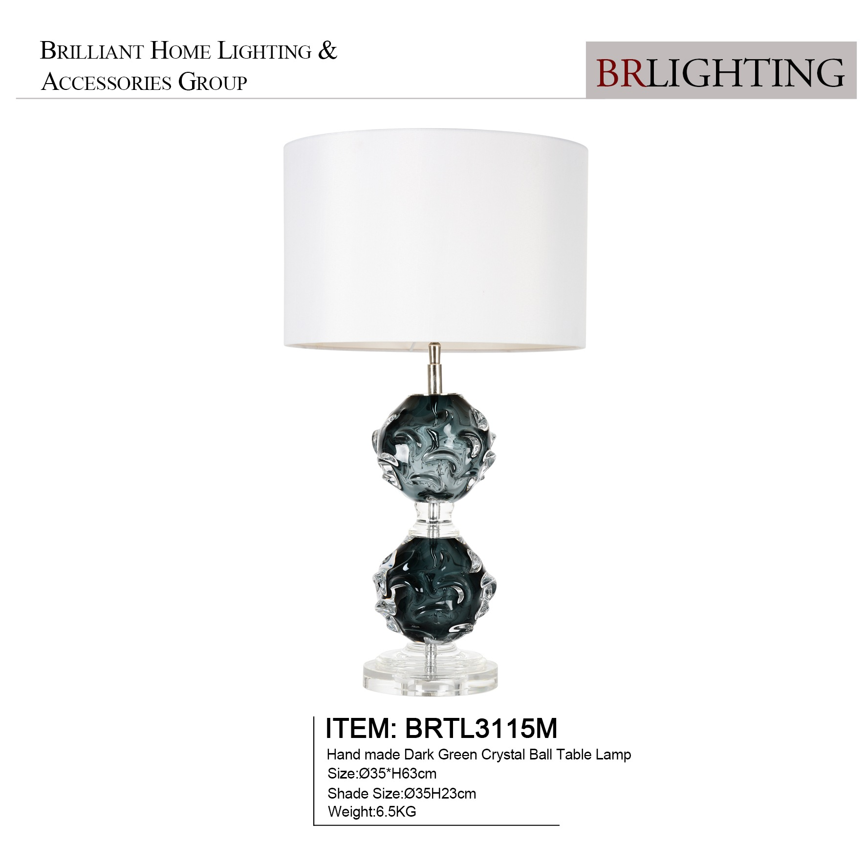 Hand Made Glass Dark Green Crystal Ball Table Lamps for Hotel Living Room Decorative Table Lamp