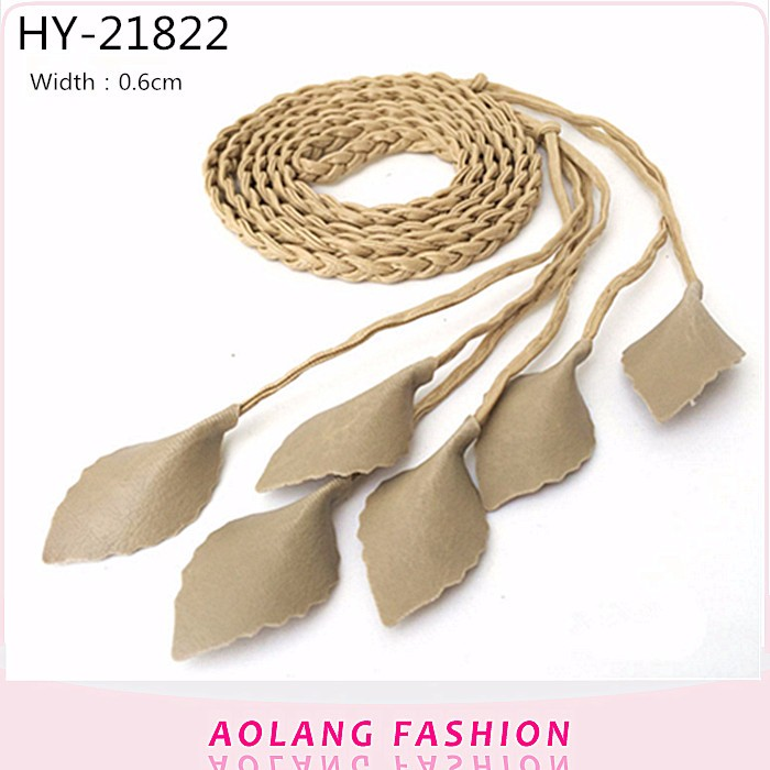 Fashion braided thin PU belt ,chain waist belt leaf style
