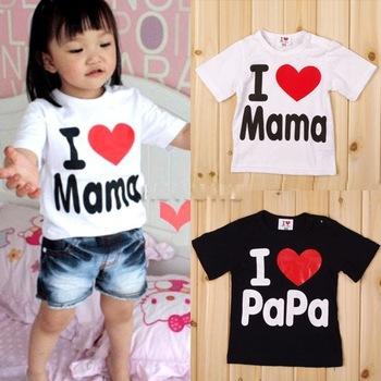 Одежда любовью мама и папа мальчики и девочки летняя футболка 95% хлопок с коротким рукавом 1 - 3 лет бесплатная доставкак